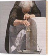 Weary Elderly Woman In Greece Wood Print
