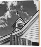 Weather Vane Bw Wood Print
