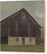 Weathered Barn And Birds Wood Print by Stephanie Calhoun