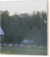 Weathered Barn And Hay Bales  Wood Print