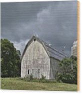 Weathered Barn And Silo Under A Cloudy Sky Wood Print