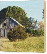 Weathered Barn In Fall Wood Print