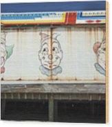 Weathered Clowns Wood Print