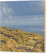 Weathered Coquina Ocean Rocks Wood Print