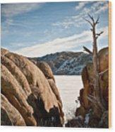 Weathered - Pathfinder Reservoir - Wyoming Wood Print
