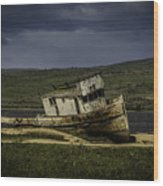 Weathered Fishing Boat Wood Print