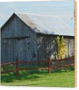 Weathered Garage N Fall Wood Print