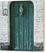 Weathered Green Door Wood Print