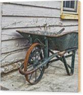 Weathered Green Wheelbarrow Wood Print