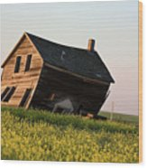 Weathered Old Farm House In Scenic Saskatchewan Wood Print