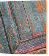 Weathered Orange And Turquoise Door Wood Print