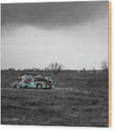 Weathered - Old Car In Texas Field Wood Print