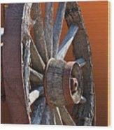 Weathered Wagon Wheel  Wood Print