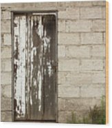 Weathered White Wood Door Wood Print