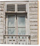 Weathered Window Balcony Wood Print
