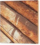 Weathered Wood Log Cabin Wood Print