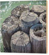 Weathered Wood Pier Posts In Lake Michigan Wood Print