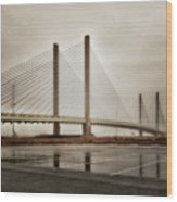 Weathering Weather At The Indian River Inlet Bridge Wood Print