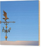 Weathervane On Snow Wood Print by Robert  Suits Jr
