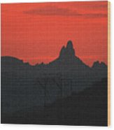 Weaver Needle Sunset Wood Print
