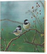 Web Chickadees Wood Print