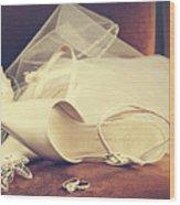Wedding Shoes With Veil On Velvet Chair Wood Print by Sandra Cunningham