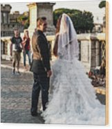 Wedding Stroll On The Ponte Sant'angelo Wood Print