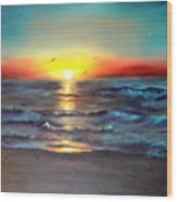 Wedding Sunrise On Indian Harbour Beach Florida Wood Print