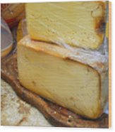 Wedges Of Ripe Cheese Wrapped Wood Print