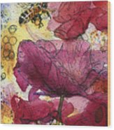 Wee Bees And Poppies Wood Print