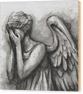 Weeping Angel Watercolor Wood Print