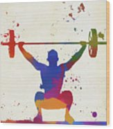 Weightlifter Paint Splatter Wood Print