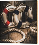 Welcome Aboard The Dark Cruise Line Wood Print