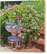 Welcome Flower Urn Steps Wood Print