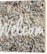 Welcome Seashell Background Wood Print