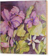 Welcome Spring Violets Wood Print