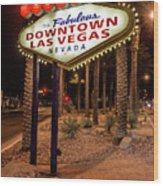 R.i.p. Welcome To Downtown Las Vegas Sign At Night Wood Print