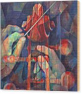 Well Conducted - Painting Of Cello Head And Conductor's Hands Wood Print