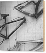 Well Worn Mountain Bike Frames  Wood Print by Gray  Artus