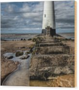 Welsh Lighthouse  Wood Print by Adrian Evans