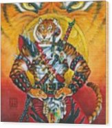 Werecat Warrior Wood Print