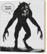 Werewolf Comic Illustration 1 Wood Print
