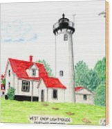 West Chop Lighthouse Wood Print by Frederic Kohli