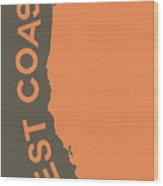 West Coast Pop Art - Crusta Orange On Judge Grey Brown Wood Print