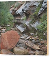 West Fork Trail River And Rock Horizontal Wood Print