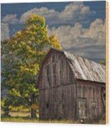 West Michigan Barn In Autumn Wood Print