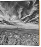 West Of Crater Lake B W Wood Print