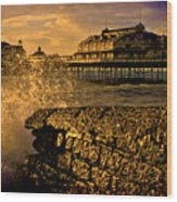 West Pier Splash Wood Print