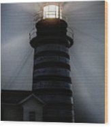 West Quoddy Head Lighthouse Aglow In Silhouette Wood Print