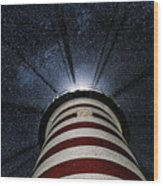 West Quoddy Head Lighthouse Night Light Wood Print by Marty Saccone